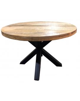 Tisch Aleo natur Kreuzfuss antikschwarz Ø 120  cm_29080