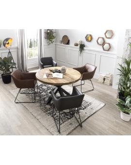 Tisch Aleo natur Kreuzfuss antikschwarz Ø 120  cm_29081