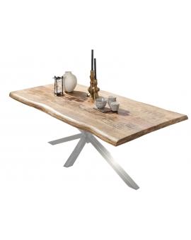 Tisch Aleo natur Kreuzfuss antiksilber_29084
