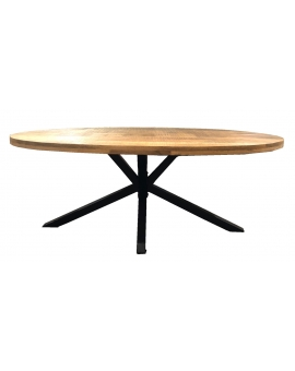 Tisch Aleo Oval natur Kreuzfuss antikschwarz 100 x 200 cm_29095