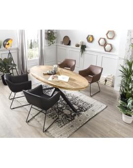 Tisch Aleo Oval natur Kreuzfuss antikschwarz 100 x 200 cm_29096
