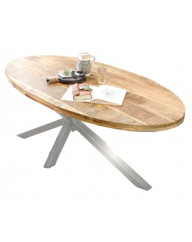 Tisch Aleo Oval natur Kreuzfuss antiksilber_29102