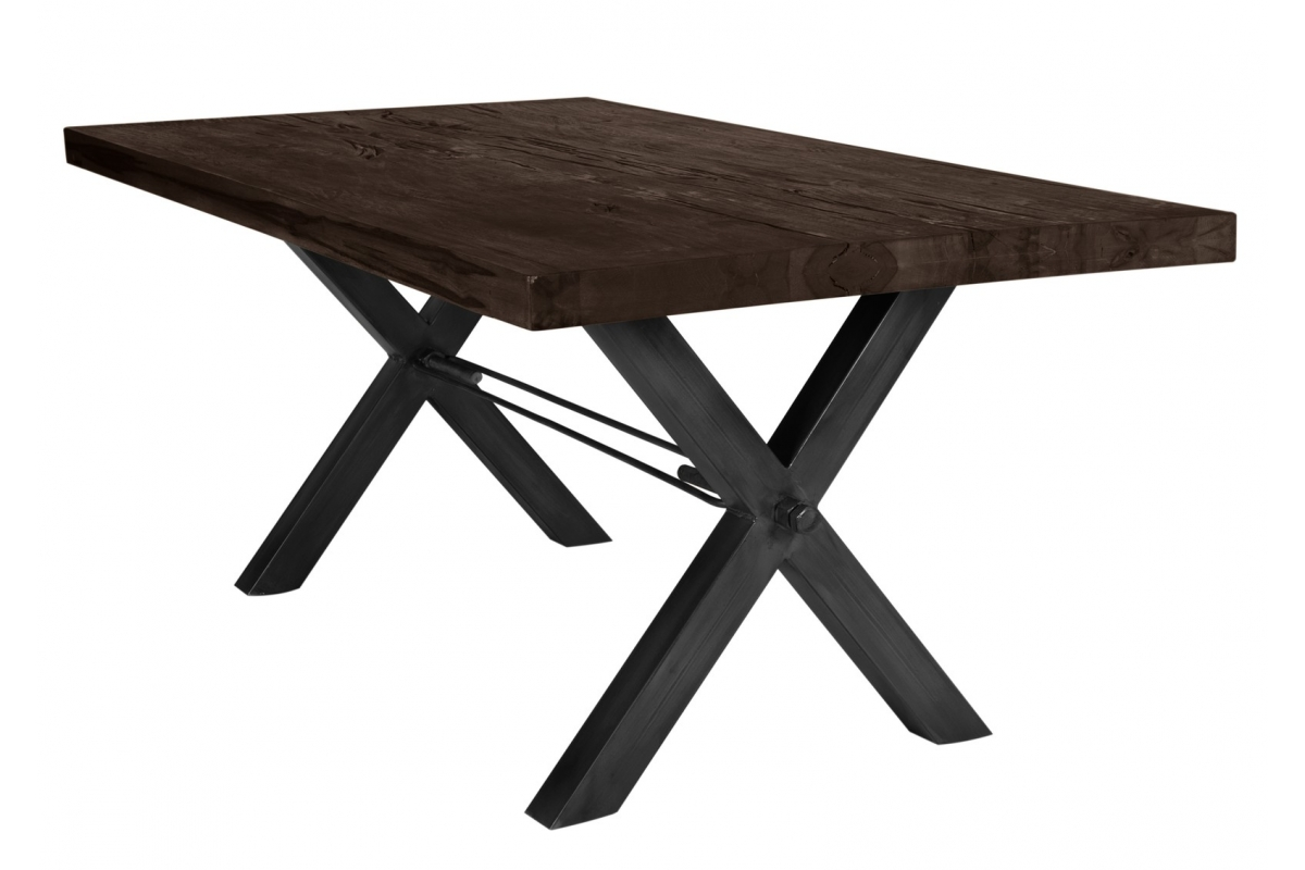 Tisch Kulma Balkeneiche carbon-grau X-Fuss antikschwarz_29297