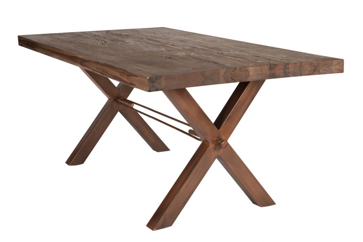 Tisch Kulma Balkeneiche Räucheröl X-Fuss antikbraun_29302