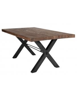 Tisch Kulma Balkeneiche Räucheröl X-Fuss antikschwarz_29303