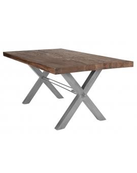 Tisch Kulma Balkeneiche Räucheröl X-Fuss antiksilbern_29304