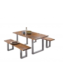 Tisch Lepo cognacfarbig Metall antiksilbern_29377
