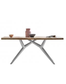 Tisch Porsu natur Kreuzfuss-X antiksilbern_29441