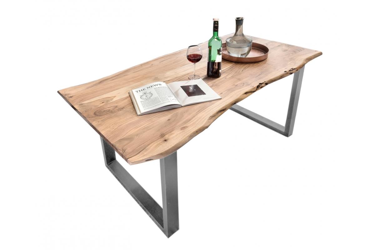 Tisch Porsu natur Kufe antiksilbern_29454