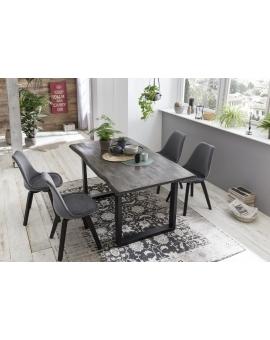 Tisch Ringe dunkelbraun Metall schwarz_29465