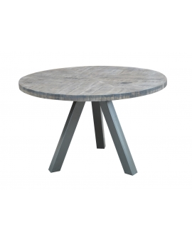Tisch Same grau Metall silber Ø 120 cm_29472