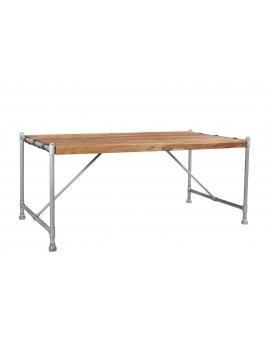 Tisch Sheesham natur Metall silber 90 x 180 cm_29500