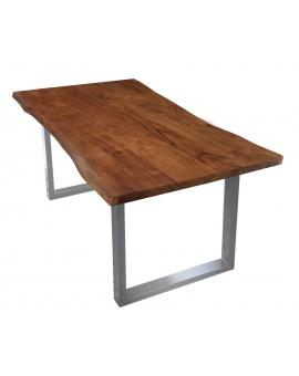 Tisch Skie nussbaumfarbig Metall silber_29528