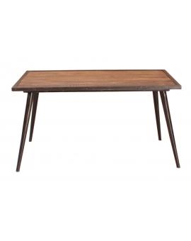 Tisch Trom braun Metall antikschwarz 70 x 140 cm_31646